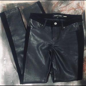 Vintage Black Rivet Leather Tuxedo Skinny Jeans